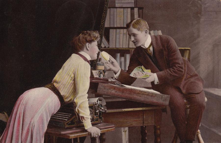Hartford 2 typewriter period postcard