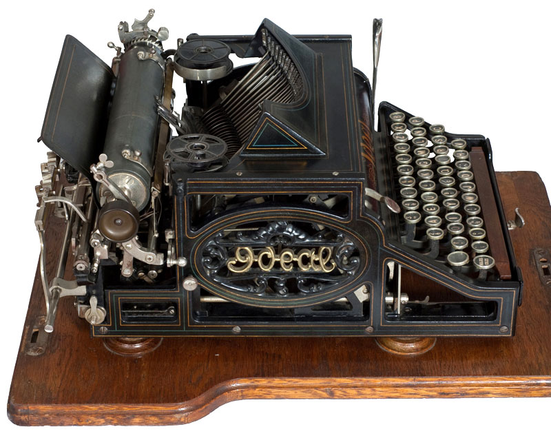 Photograph of the Ideal typewriter showing the left hand side.