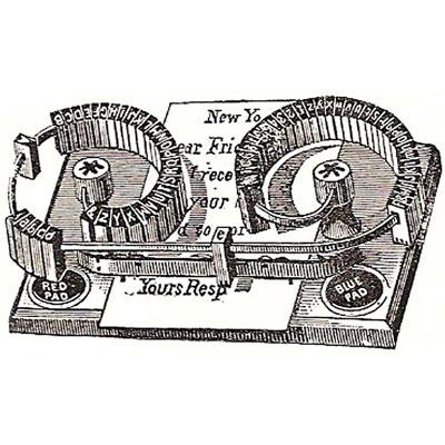 Period illustration of the Ingersoll typewriter.