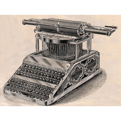 Period illustration of the International typewriter.