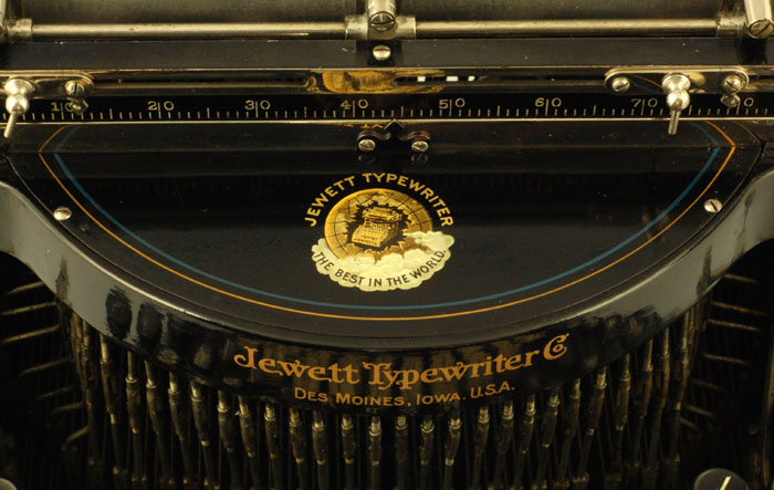 Photograph of the Jewett 4 typewriter showing a close up of the beautiful Jewett decal.