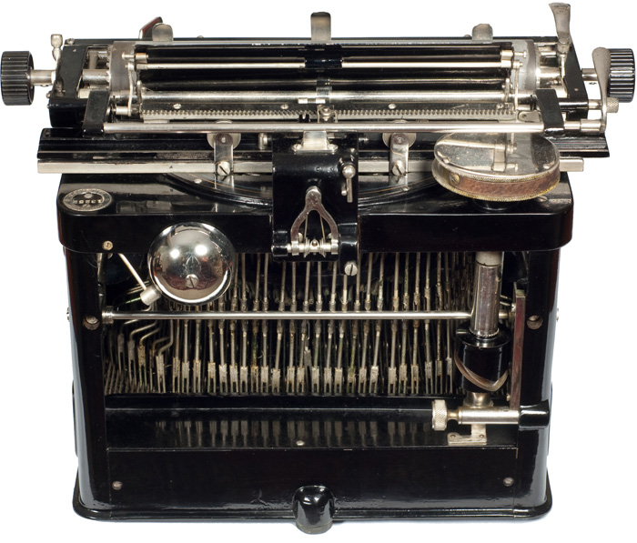 Photograph of the Jewett 4 typewriter showing the back view.