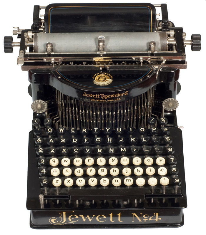 Photograph of the Jewett 4 typewriter showing the front view.