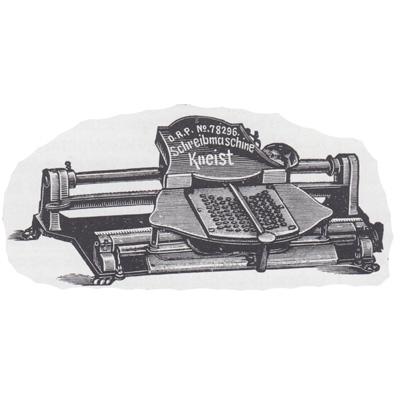 Period illustration of the Kneist Typewriter.