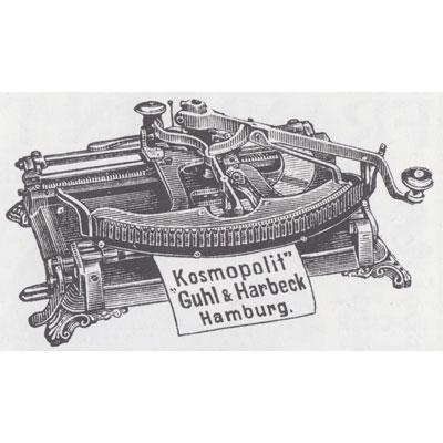 Period illustration of the Kosmopolit Typewriter.