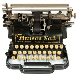 Photograph of the Munson 3 typewriter.