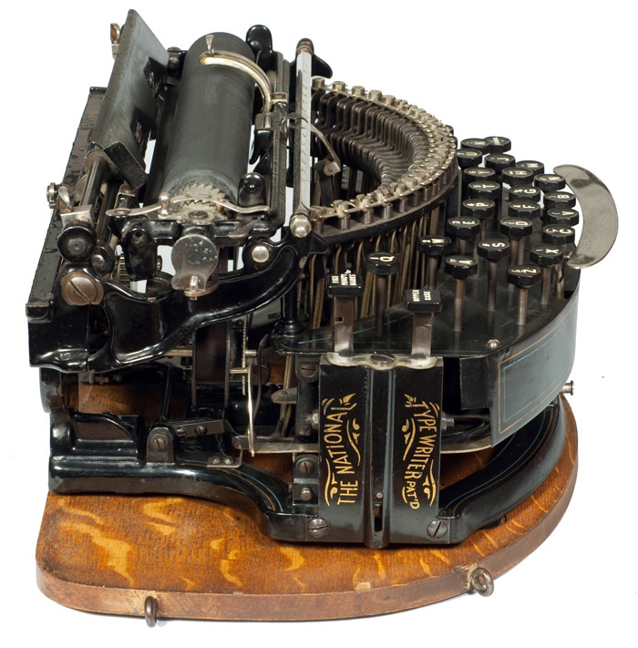 Photograph of the National 2 typewriter showing the left hand side.