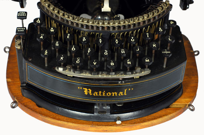 Photograph of the National 2 typewriter showing a close up of the keyboard.
