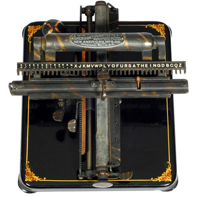 Photograph of the New American 5 typewriter.