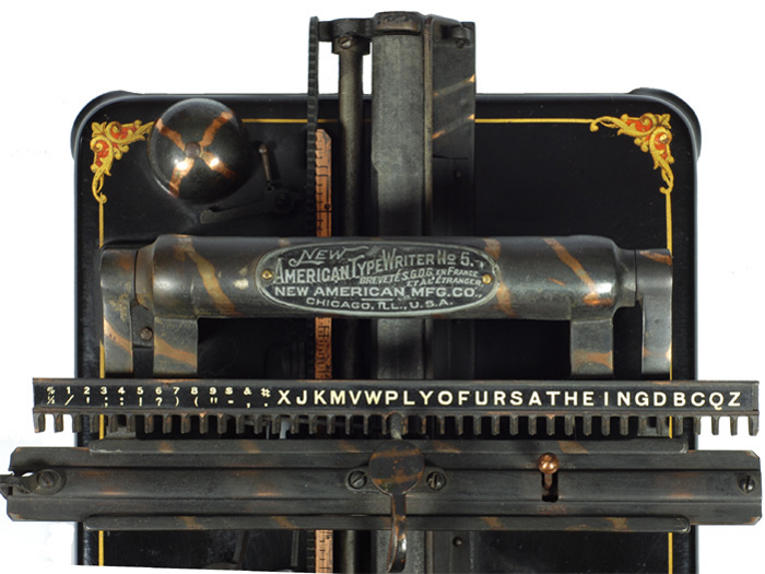 Photograph of the New American 5 typewriter showing the top view.