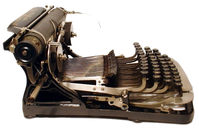 Photograph of the Pittsburg Visible typewriter showing the left hand side.