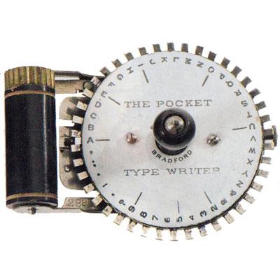 Photograph of the Pocket typewriter.