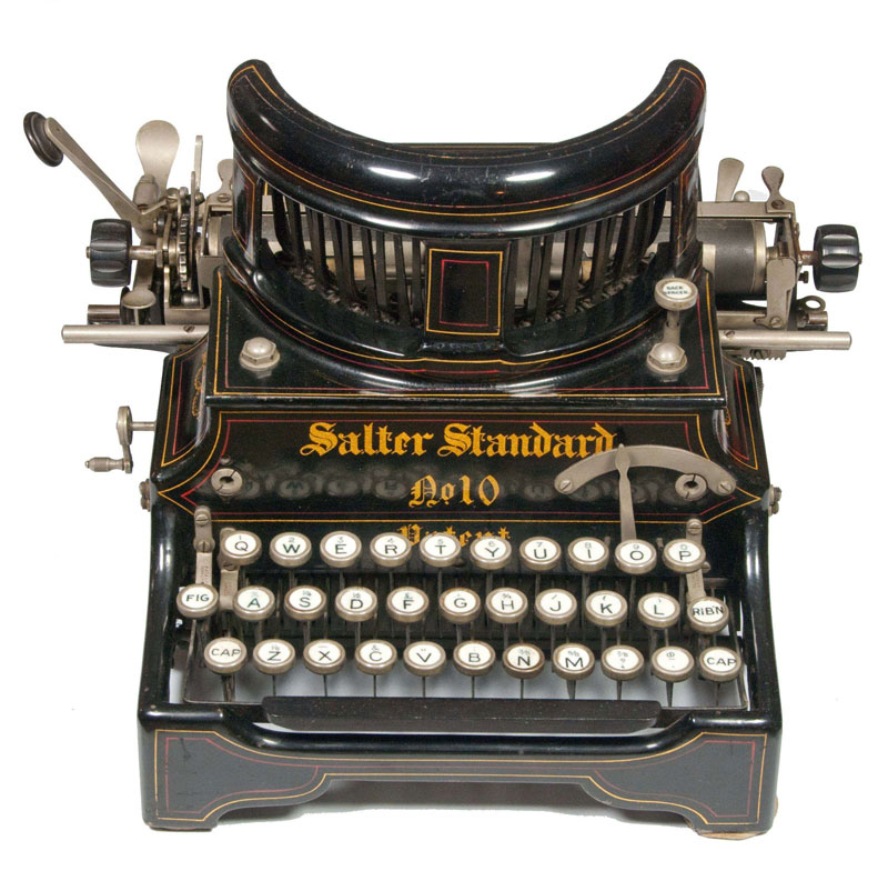 Photograph of the Salter 10 typewriter showing the front view.