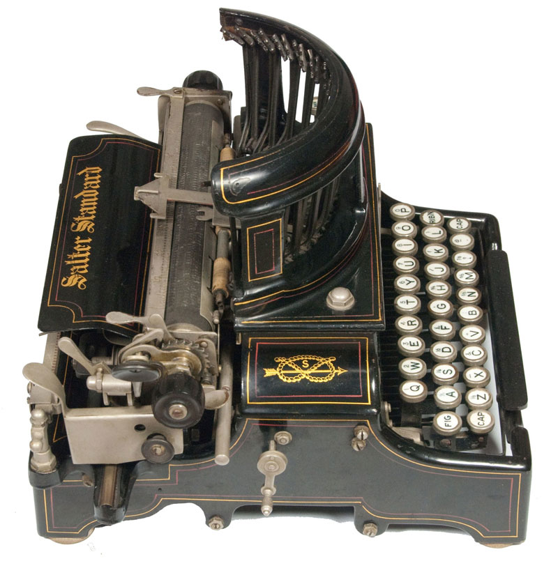 Photograph of the Salter 10 typewriter showing the left hand side.