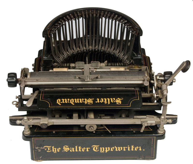 Photograph of the Salter 10 typewriter from the back.