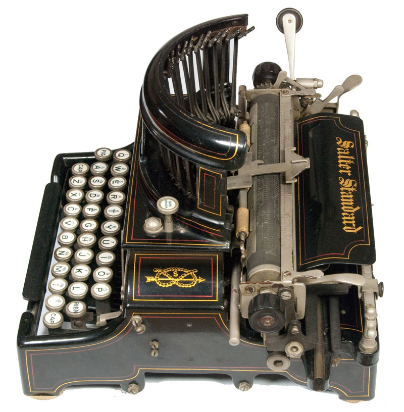 Photograph of the Salter 10 typewriter from the right hand side.
