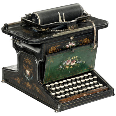 Photograph of the Sholes and Glidden typewriter.