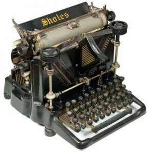 Photograph of the Sholes Visible 1 typewriter.