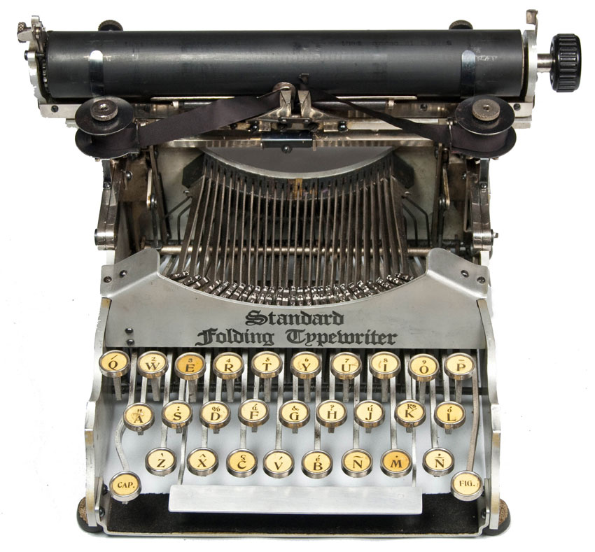 Photograph of the Standard Folding 1 typewriter from the front.