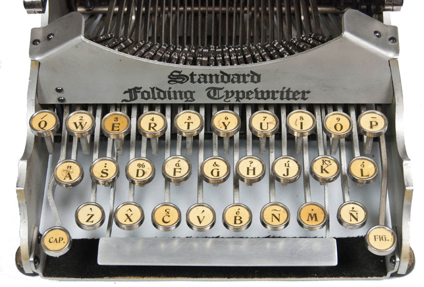 Photograph of the Standard Folding 1 typewriter showing a close up view of the keyboard.