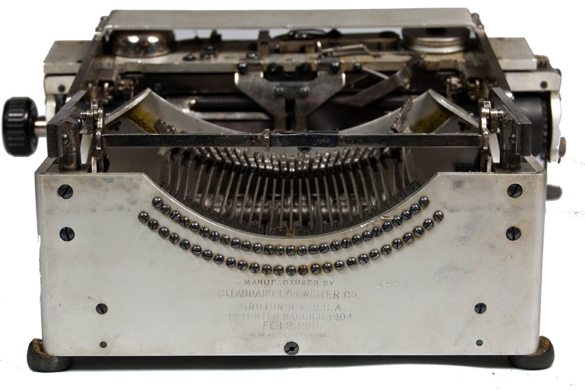 Photograph of the Standard Folding 1 typewriter from the back.