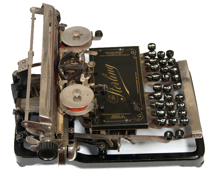Photograph of the Sterling 1 typewriter from the left hand side.