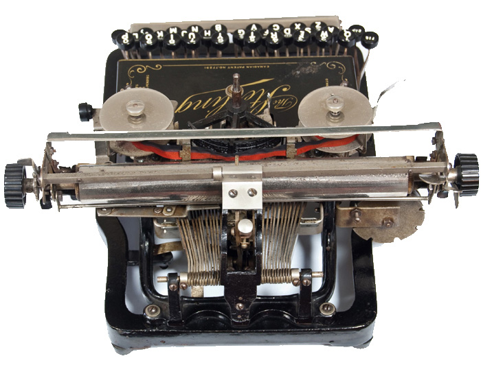 Photograph of the Sterling 1 typewriter from the rear.