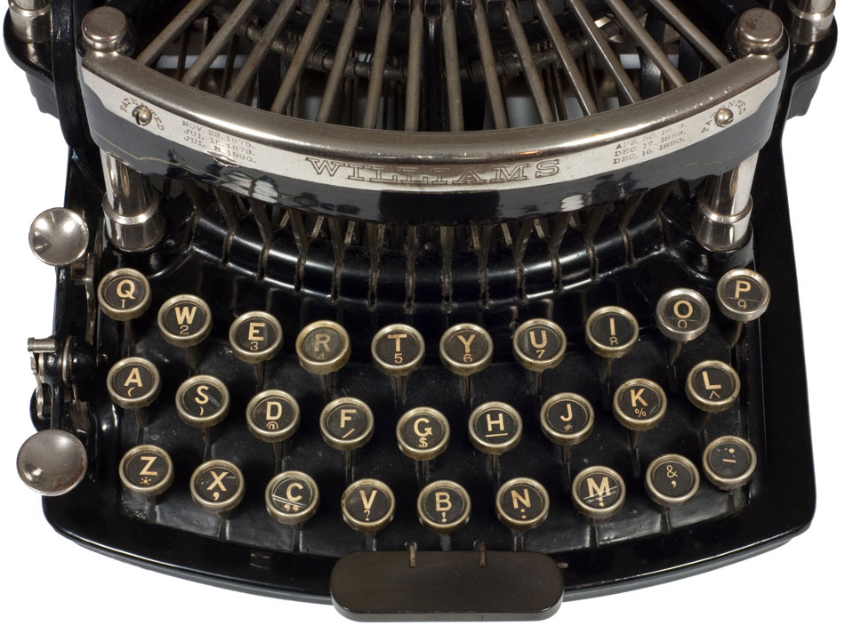 Photograph of the Williams 1 typewriter showing a close up of the keyboard.