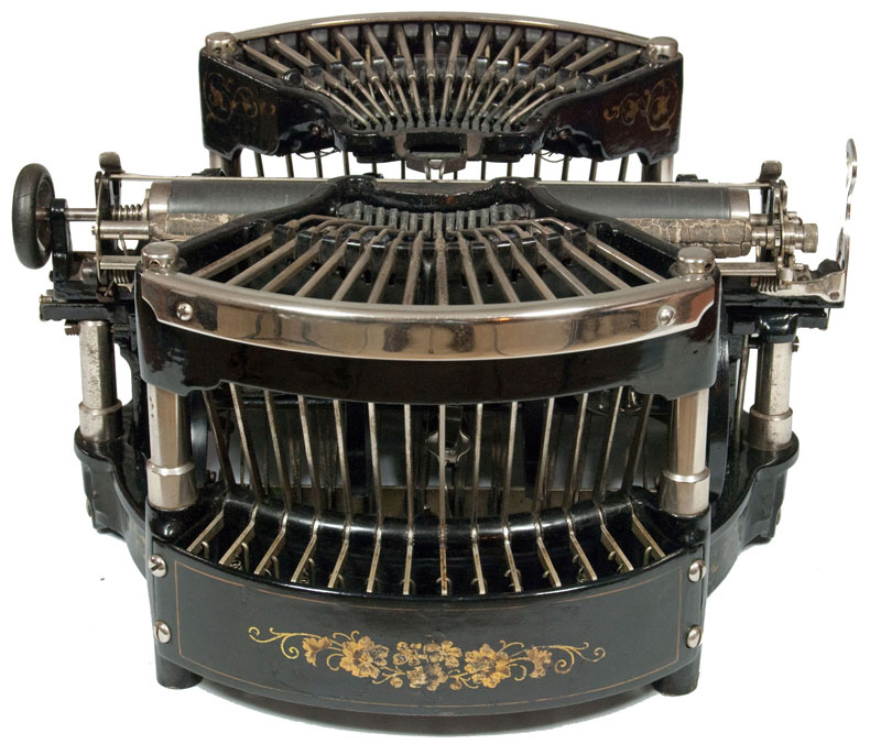 Photograph of the Williams 1 typewriter from the rear.