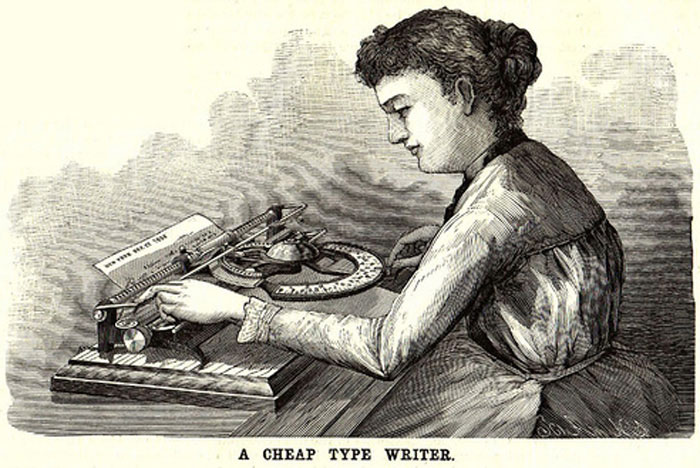 Period illustration from Scientific American showing a person operating the World 1 typewriter.