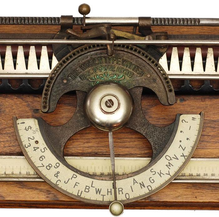 Photograph of the World 1 typewriter.