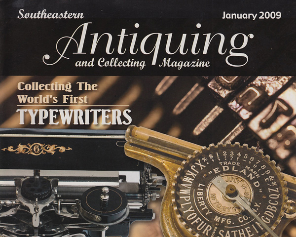 Antique magazine cover featuring typewriters from the Martin Howard collection.