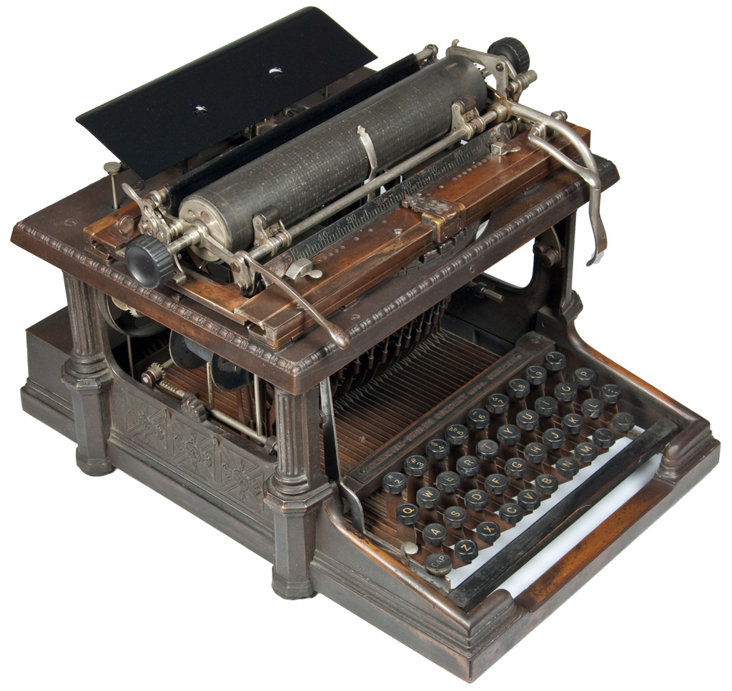 Photograph of the Remington Sholes 1 typewriter.