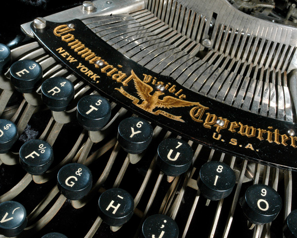 A photograph showing a close up of the Commercial Visible 6 typewriter.