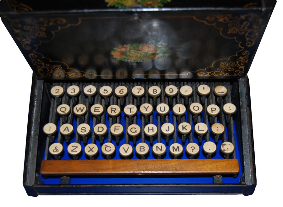 A photograph of the QWERTY keyboard on the Sholes and Glidden typewriter.
