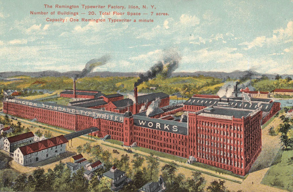 Period postcard of the Remington 2 Typewriter factory.
