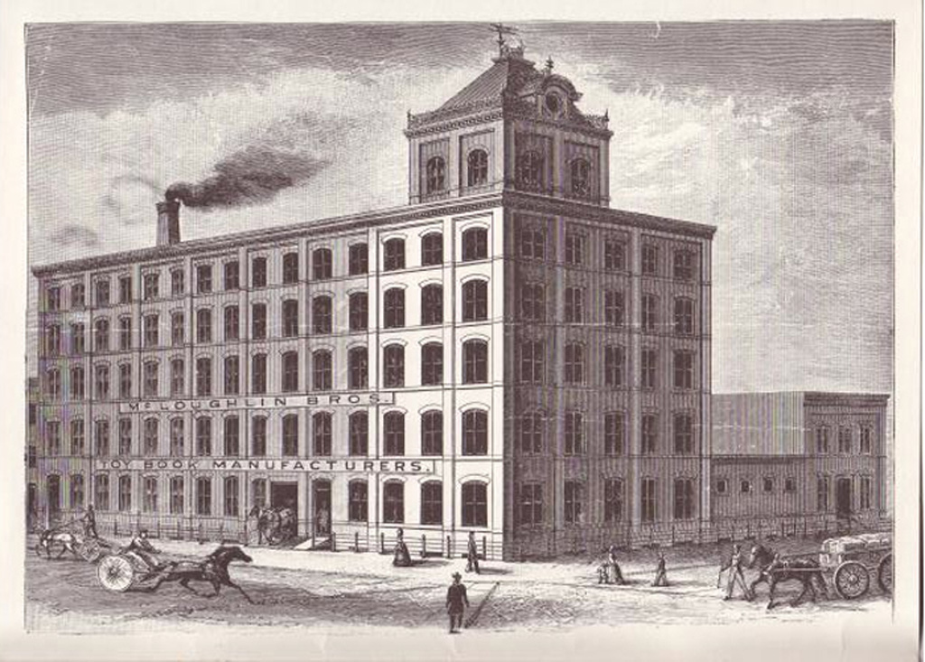Period illustration of the McLoughlin Brothers typewriter factory.