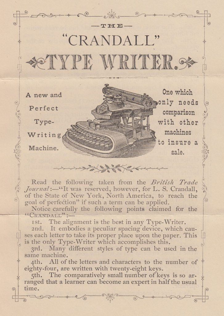 Period ad for the Crandall typewriter from 1888.