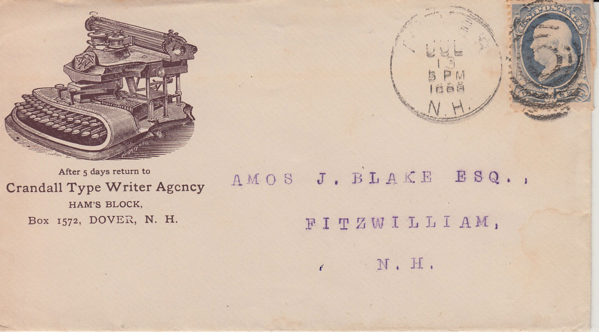 Envelope for a Crandall typewriter ad from 1888.