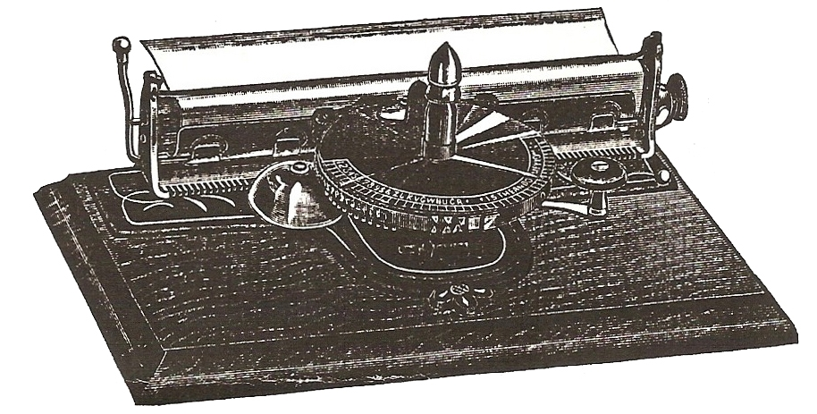 Period wood cut of the Pearl typewriter.