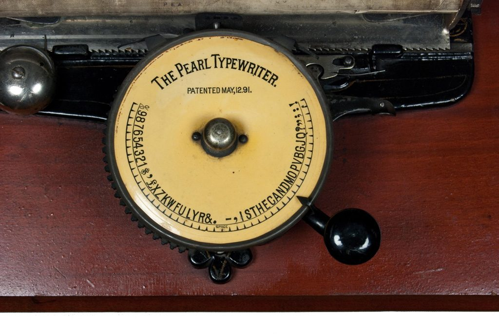 Close up of the Pearl typewriter's index disc.