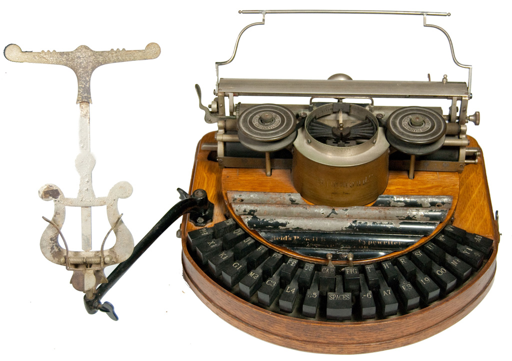 Hammond 1 typewriter, with the Reid copy holder and pencil tray.
