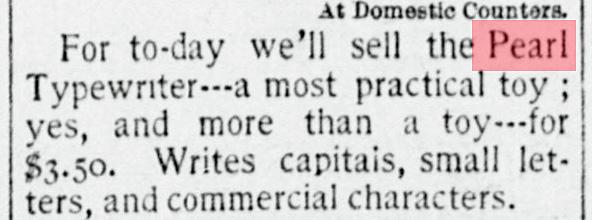Pearl typewriter period advertisement