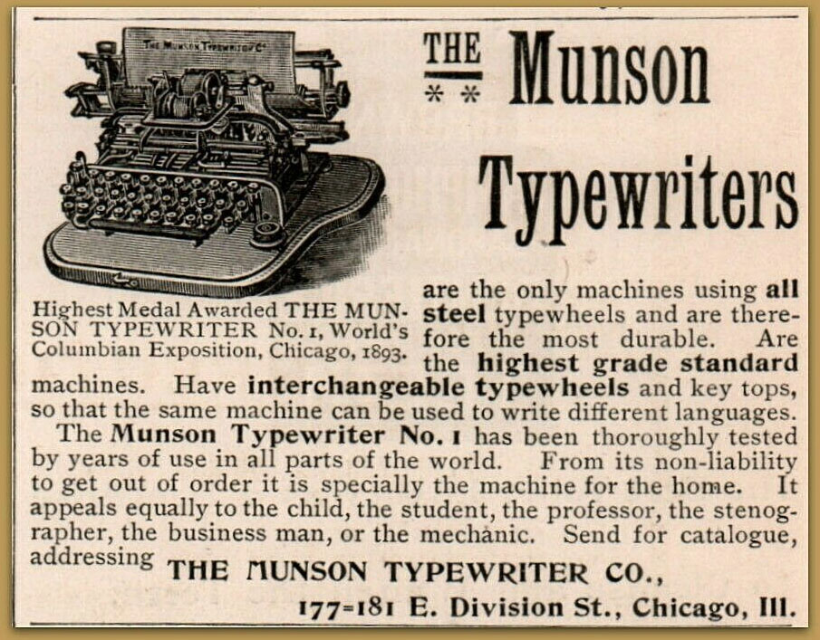 Munson 1 typewriter period advertisement.