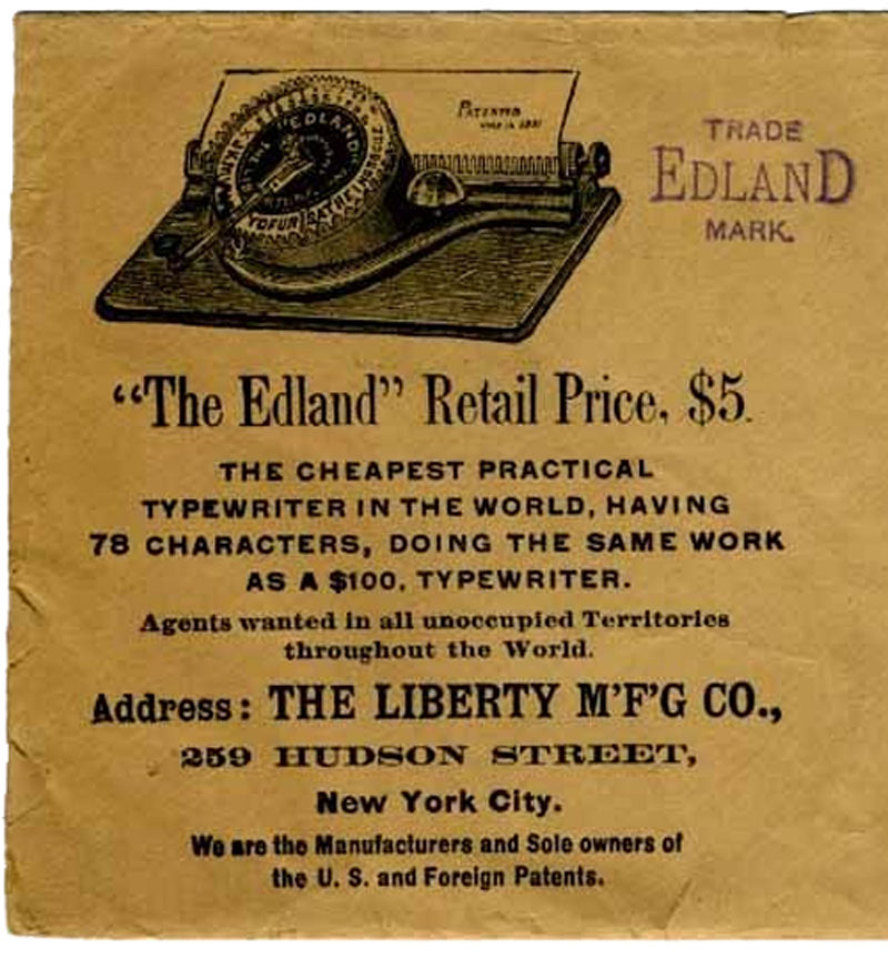 Edland typewriter period advertisement