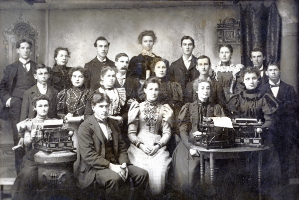 Typewriter graduating class from 1883.